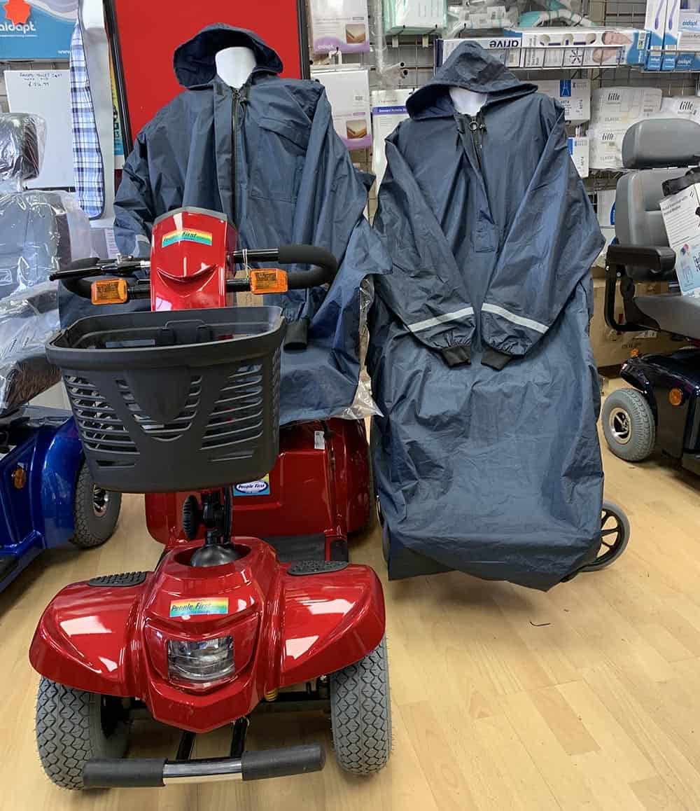 Wheely mac on scooter in People First Mobility store