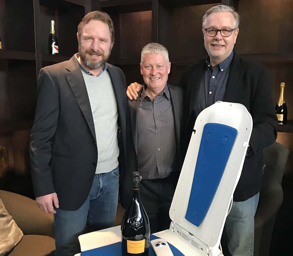 Hugh Malone with Thomas Godhoff & Johannes Wagner, joint owners from Eureha – part of the Dietz group – after signing the exclusive UK distribution agreement of the Kanjo bath lift