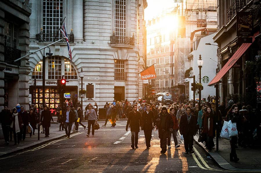 shoppers on busy street in the UK